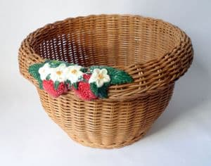 Vintage Wicker Strawberry Plant Planter Basket 1950s Floral Flower Lovely Shape