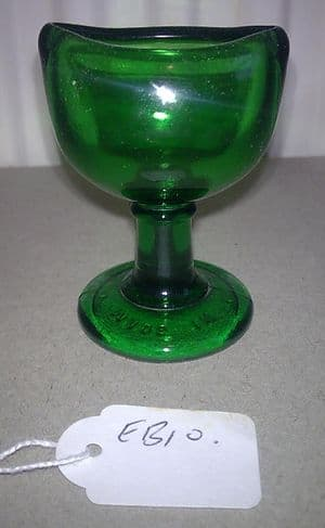 Vintage Wood Brothers Glass Co. Ltd of Barnsley Green Glass Stem Eye Bath Wash Circa 1940s EB10