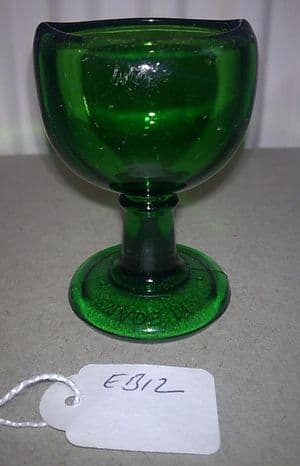 Vintage Wood Brothers Glass Co. Ltd of Barnsley Green Glass Stem Eye Bath Wash Circa 1940s EB12