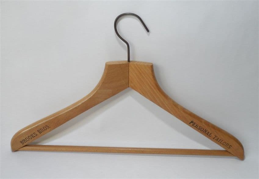 Vintage Wooden Advertising Coat Hanger Brook Bros. US USA Brothers Personal Tailor Circa 1950s