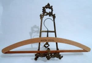 Vintage Wooden Advertising Coat Hanger Coathanger Avon Hotel Circa 1960s