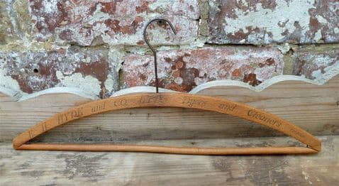 Vintage Wooden Advertising Coat Hanger Coathanger E H Hyde and Co Ltd Dyers & Cleaners