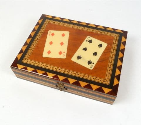Vintage Wooden Wood Playing Card Box Inlaid Laminated Double Six Design Diamonds 2 Packs