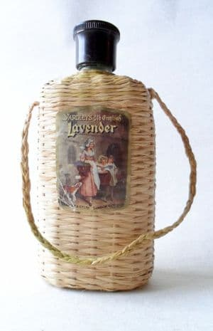 Vintage Yardley London England Old English Lavender Raffia Covered Bottle Circa 1930s Bakelite Top Art Deco
