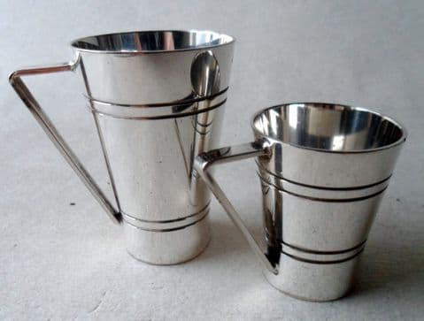 x2 Vintage Silver Plated Measure 1/3 & 1/6 Gill Bonzer Mitchell & Cooper London 70s 1974 Art Deco Style Pub Bar Inn Barware