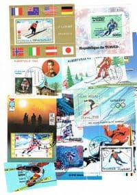 10 different Alpine skiing miniature sheets packet