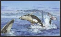 Ascension 2009 Whales and Dolphins Souvenir Sheet unmounted mint
