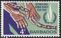Barbados SG378 1968 Human Rights Year 4c mounted mint