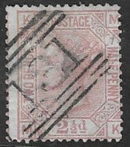 GB SG141 1877 2½d plate 7 lettered KM-MK used