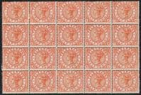GB SGT1 1880 Telegraph ½d block of 20 (9 unmounted mint, 11 mounted mint)