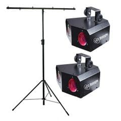 2 x Acme LED Boogie Lights and a T-Bar Stand (Hire Cost per Day)