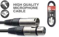 20m Black Microphone, Audio or Signal Cable Lead 20 Metre (XLRF to XLRM)