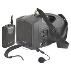 Adastra H25 Portable Battery + Mains PA System USB + Wireless Headset Microphone