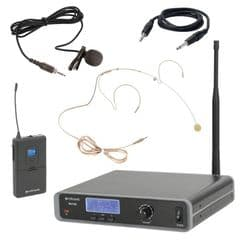 Citronic RU105-N Tuneable UHF Wireless Headset + Lavalier Radio Microphone Kit