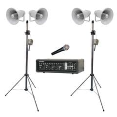 Outdoor PA 4 x Speakers with Stands and Amplifier and Microphone (Hire Cost per Day)