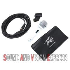 Peavey PVi 2 WHITE Microphone + XLR to XLR Cable Lead + Carry Case and Mic Clip