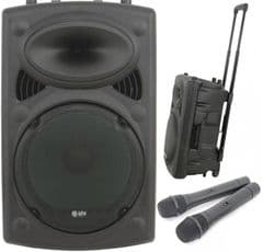 Portable Speaker Battery or Mains PA System 2 x Radio Mics + Tripod (Hire Cost per Day)