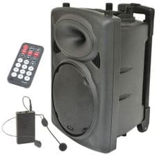QTX QR10PA Portable PA Speaker + Headset Radio Mic Battery Mains Sd Usb + Remote