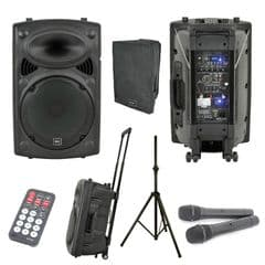 QTX QR12PA Battery + Mains Portable PA Speaker Unit 2 Radio Mics + Cover + Stand