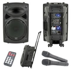 QTX QR12PA Battery or Mains Portable PA Speaker System + USB + 2 x Wireless Mics