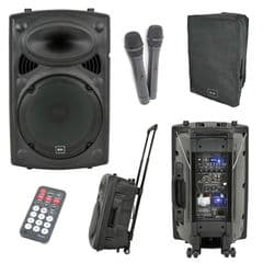 QTX QR12PA Portable PA - Battery / Mains, 2 Radio Microphones, USB, SD + Cover