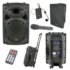 QTX QR15PA Battery Powered PA Speaker + USB SD + Handheld + Headset Mics + Cover