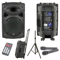 QTX QR15PA PA Dj Speaker 2 Radio Microphones Battery Mains USB + SD + Stand 250W