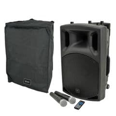 QTX QX12PA Battery + Mains Portable Bluetooth PA Speaker + 2 Radio Mics + Cover