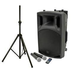 QTX QX15PA Battery + Mains 250W Bluetooth PA Speaker + 2 Radio Mics + USB +Stand