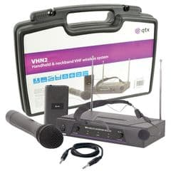 QTX VHN2 Headset + Handheld Wireless Radio Microphone System 174.1 175.0 + Case