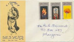 04/10/1972 New Zealand FDC Christmas 1972, illustrated - Virgin & Child handwritten address