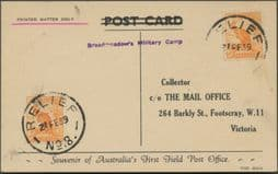 1939 Souvenir postcard 'First Field Post Office', Relief No.8 cancel, with Broadmeadows Military Camp caché