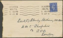 1943 Cover addressed to Lieutenant on HMAS Shropshire