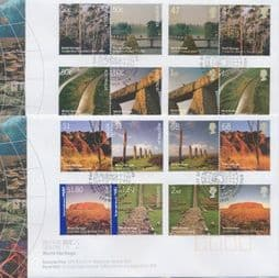 21/04/2005 Australia FDC Joint Issue with UK, Heritage Sites with both countries stamps on 2 covers