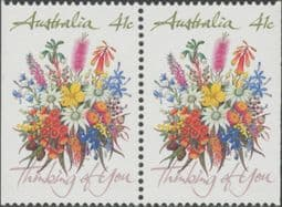 Australian Stamps SG1230 41c Greetings horizontal pair from booklet (exSB69) imperforate at left & right p14x13½