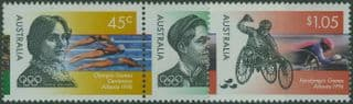 AUS SG1627a-9 Olympic & Paralympic Games 1996, Atlanta set of 3 with horizontal pair of 45c values