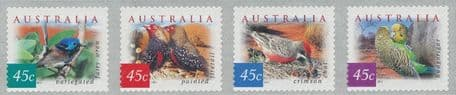AUS SG2130d-3d Fauna and Flora (4th series): Desert Birds self-ad perf 12½x13 strip of 4 from roll