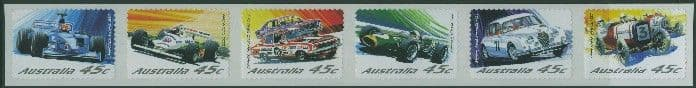 AUS SG2181a Centenary of Motor Racing in Australia & New Zealand s-a strip of 6 from roll