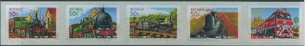AUS SG2434a 150th Anniversary of Australian Railways self-adhesives strip of 5 from roll