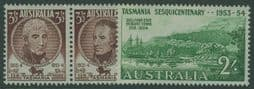 Australian Pre-decimal SG268a-70 150th Anniversary of Settlement in Tasmania set of 3 including horizontal pair
