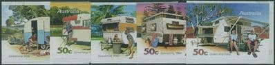 AUS SG2889-93 Stamp Collecting Month 2007: Caravanning self-adh set of 5 from booklets (exSB251-6)