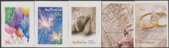 AUS SG3148-52 2009 Occasions self-adhesive set of 5 from booklets (exSB322-6)