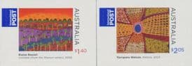 AUS SG3183-4 Indigenous Culture, Paintings self-adhesive set of 2 from sheetlets
