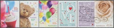AUS SG3686-91 Special Occasions 2012: Precious Moments strip of 5 and single
