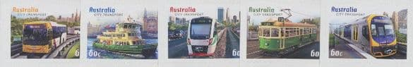 AUS SG3729-33 Capital City Transport self-adhesive set of 5 from booklet (exSB402)