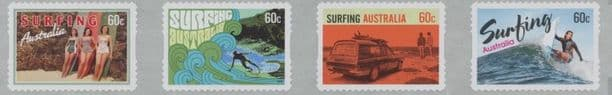 AUS SG3934a Surfing Australia self-adhesive strip of 4 from roll