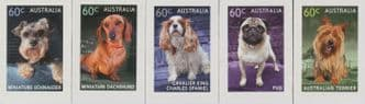 AUS SG3943-7 Top Dog self-adhesive set of 5 from booklets (exSB432-6)