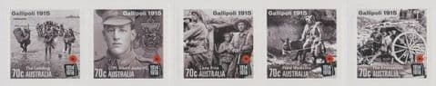 AUS SG4356-60 Centenary of WWI: Gallipoli 1915 self-adhesive set of 5 from booklet (exSB501)