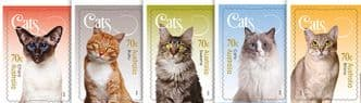 AUS SG4367-71 Cats of Australia self-adhesive set of 5 from booklets (exSB502-6)