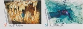 AUS SG4720-1 Australian Caves self-adhesive set of 2 from booklet (exSB572)